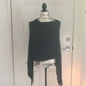 Black and silver sparkly poncho